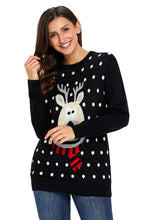 Load image into Gallery viewer, Black Christmas Reindeer Sweater