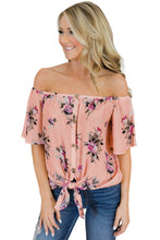 Load image into Gallery viewer, Pink Floral Off The Shoulder Top