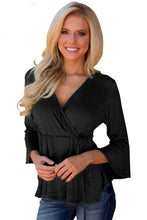 Load image into Gallery viewer, Black Bell Sleeve Wrap Front Tunic