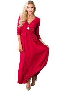 Red Surplice Neck High Waist Pleated Pocket Maxi Dress
