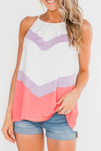 Load image into Gallery viewer, Pink Violet Chevron Color Block Flowy Tank Top