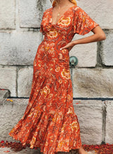 Load image into Gallery viewer, Burnt Orange V Neck Ruffle Multi Floral Print Maxi Dress