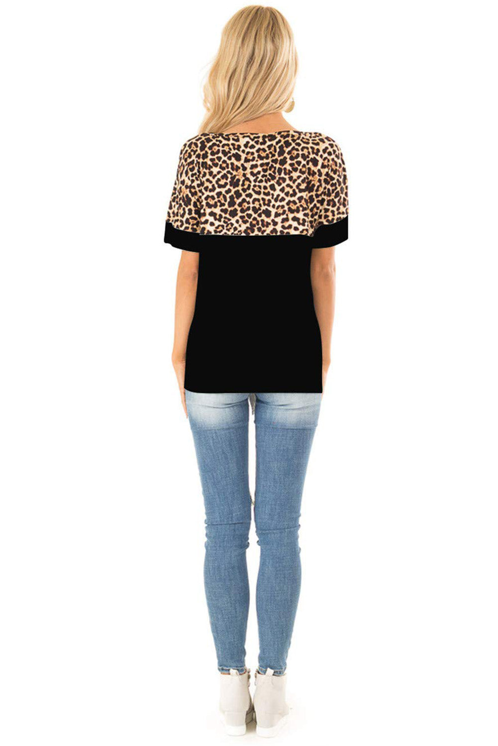 Black Block Leopard Print Splice Loose Fit T-shirt
