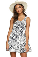 Load image into Gallery viewer, Black Leaf Pattern Ruffled Summer Boho Dress