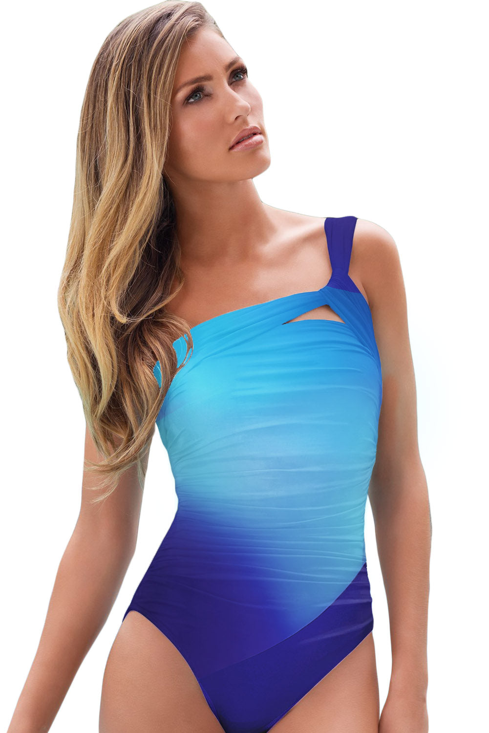 Sky Blue Gradient Color One-shoulder Maillot