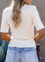 Load image into Gallery viewer, White Ribbed Surplice Knit Top