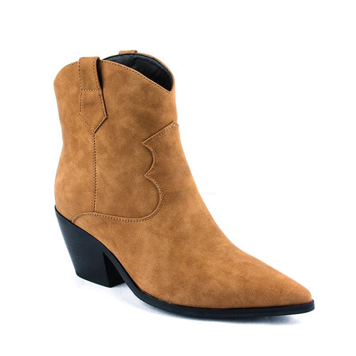 Ankle Boots For Women Autumn Winter Western Cowboy Boots Women Slip On Wedge High Heel Boots Faux Suede Shoes Botas Brown