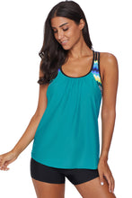 Load image into Gallery viewer, Green Blouson Striped Printed Strappy T-Back Push up Tankini Top