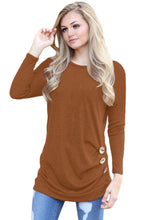 Load image into Gallery viewer, Maroon Buttoned Side Long Sleeve Spring Autumn Womens Top
