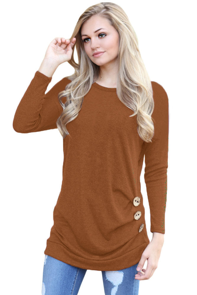 Maroon Buttoned Side Long Sleeve Spring Autumn Womens Top