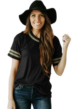 Load image into Gallery viewer, Black Embroidery Knit Top