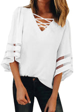 Load image into Gallery viewer, White Criss Cross Neck 3/4 Bell Sleeve Blouse