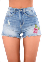 Load image into Gallery viewer, Rose Embroidered Whiskered Cuff Medium Blue Denim Shorts