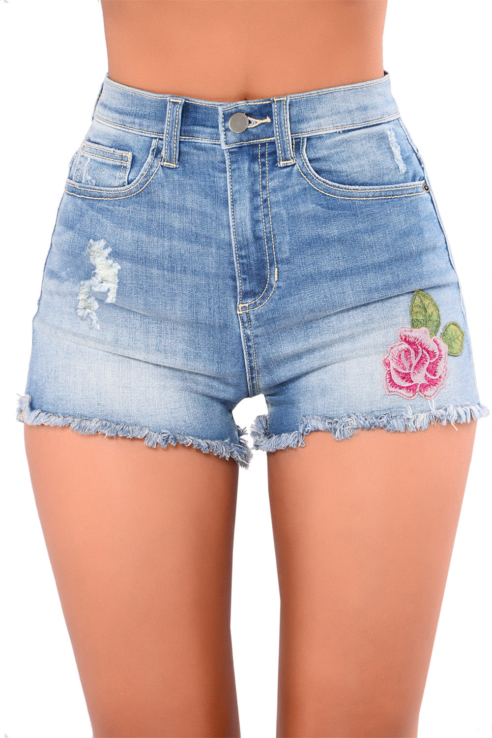 Rose Embroidered Whiskered Cuff Medium Blue Denim Shorts