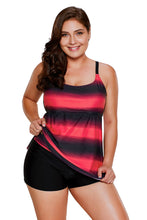 Load image into Gallery viewer, Rosy Strappy Hollow-out Back Plus Size Tankini