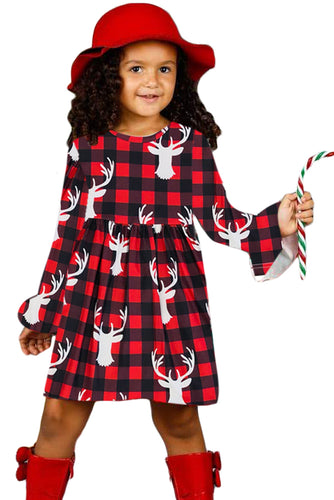 Buffalo Plaid Reindeer Christmas Little Girl Dress