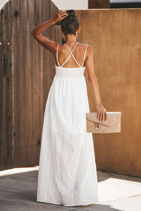 White Essence of Beauty Cotton Pocket Maxi Dress