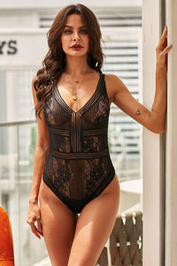 Too Bad I'm Bad Black Lace Open Back Bodysuit
