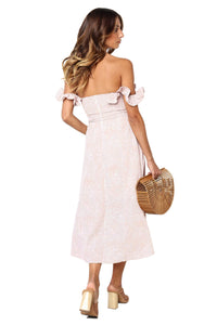 Nude Koda Floral Print Off Shoulder Dress