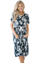 Load image into Gallery viewer, Blue Full-blown Floral Print Knee Length Dress
