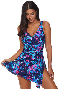 Blue Flower Print Swimdress