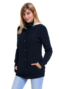 Navy Blue Long Sleeve Button-up Hooded Cardigans