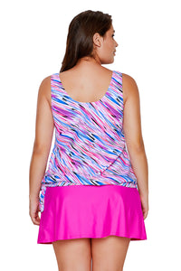 Multicolor Illusion Tie Side Tankini Skirtini Swimsuit