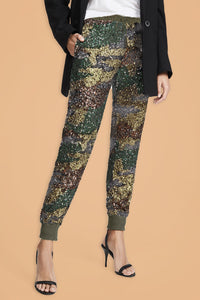 Camouflage Printed Sequin Pants