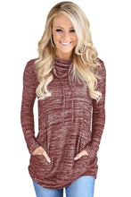 Load image into Gallery viewer, Heather Red Cozy Cowl Neck Drawstring Sweatshirt