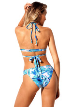 Load image into Gallery viewer, Blue Floral Printed Wrap Bikini 2pcs Swimsuit