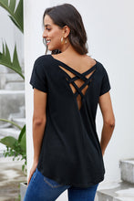 Load image into Gallery viewer, Black Criss Cross Short Sleeve T Shirt
