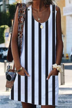 Load image into Gallery viewer, White Boho Crew Neck Pockets Daily Striped Shift Dress