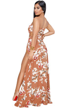 Load image into Gallery viewer, Orange Floral Print Slit Legs Strapless Jumpsuit