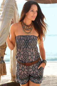Brown Strapless Floral Print Romper Overall