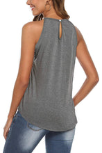 Load image into Gallery viewer, Gray Crochet Patchwork Flowy Tank