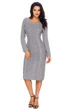 Load image into Gallery viewer, Gray Women's Hand Knitted Sweater Dress