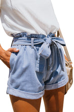 Load image into Gallery viewer, Light Blue Paper Bag Waist Denim Shorts