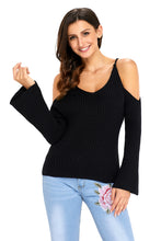 Load image into Gallery viewer, Black Cold Shoulder Bell Sleeve Sweater
