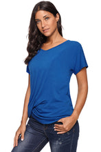 Load image into Gallery viewer, Royal Blue V-Neck Twist Ruched Basic Short Sleeve Tee