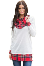 Load image into Gallery viewer, White Autumn Wind Plaid Cowl Neck Tunic