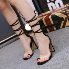Load image into Gallery viewer, 2020 Women 11Cm High Heels Lace Up Square Toe Sandals Women Ankle Strap Summer Snake Skin Print Lady Shoes Serpentine Sandals Black