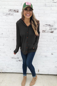 Black Open Front Pocket Button Down Knit Cardigan Coat