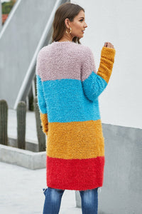 Multicolor Color Block Drape Oversized Knitted Cardigan
