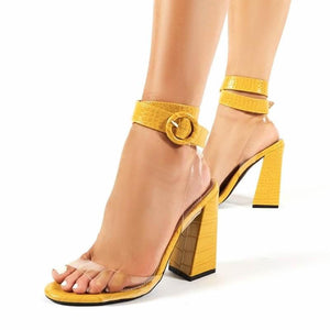 2020 Mature Pu Solid Sandals Women Buckle Thick High Heel Stone Pattern Cover Heel Peep Toe Wedding Daily Party Shoes Yellow