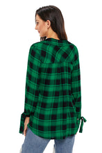 Load image into Gallery viewer, Green Black Plaid Drape Top