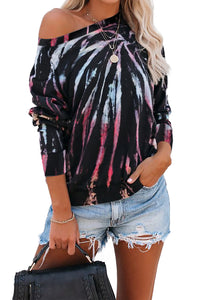 /Multicolor Cotton Blend Tie Dye Pullover Sweatshirt