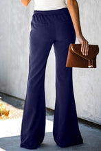 Load image into Gallery viewer, Blue Dress to Impress Pocketed Flared Tie Pants