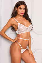 Load image into Gallery viewer, White Sexy Crochet Lace G-string Bra Set Lingerie