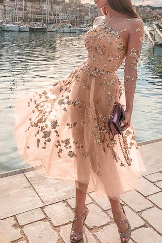 Apricot Fairy Sequins Perspective Tulle Dress