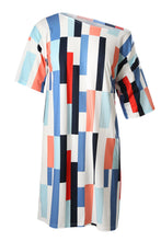 Load image into Gallery viewer, Blue Geometric Pattern Loose T-shirt Dress